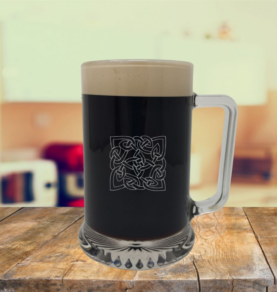 Glass Tankard With Celtic 5 Design, Engraved